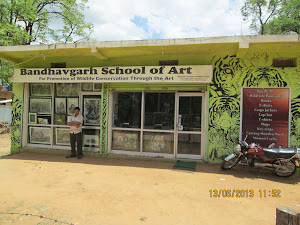 """Bandhavgarh School of Art"" on the main road of Tala village."