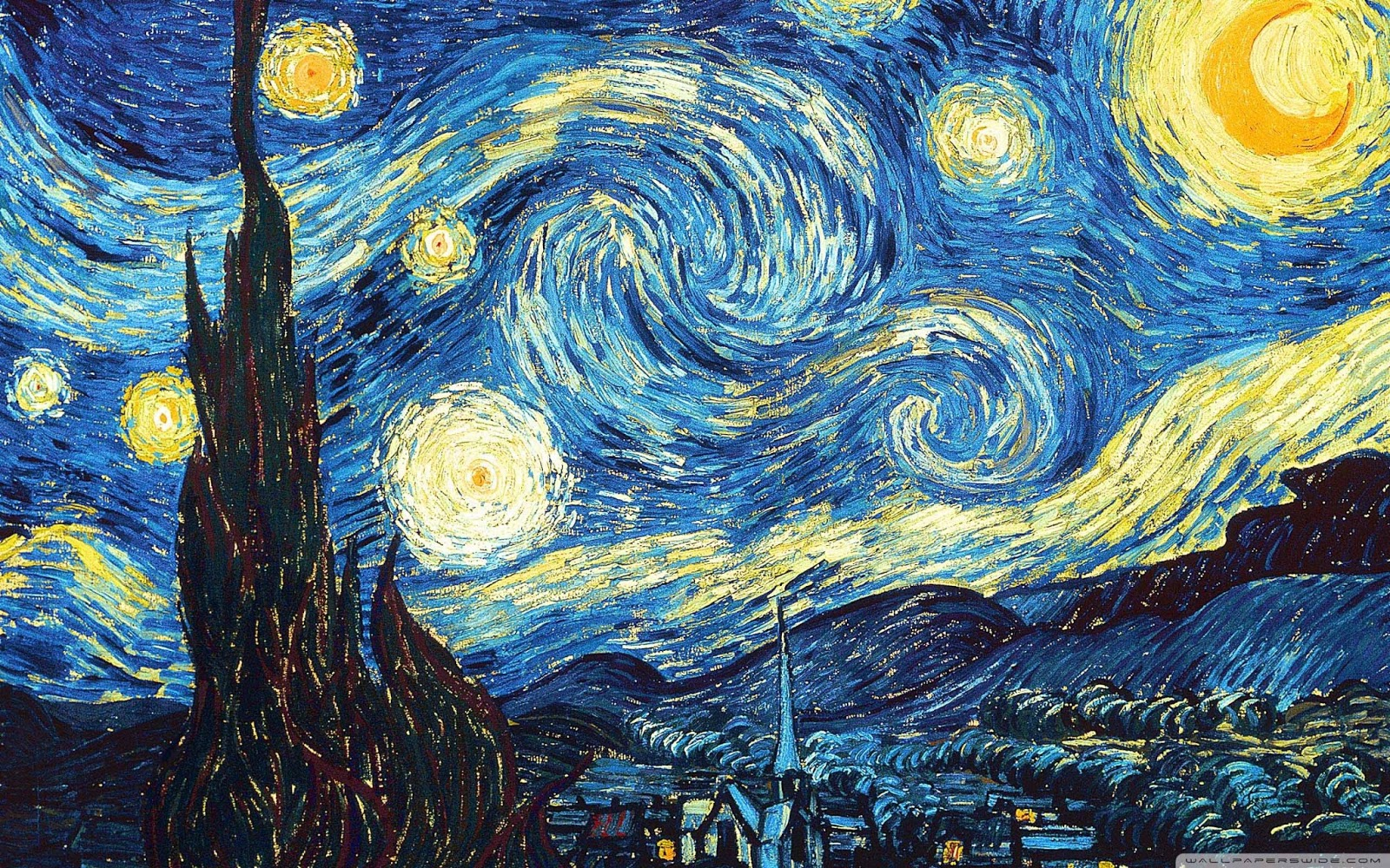 Nail art 1 van gogh bow of moon for La notte stellata