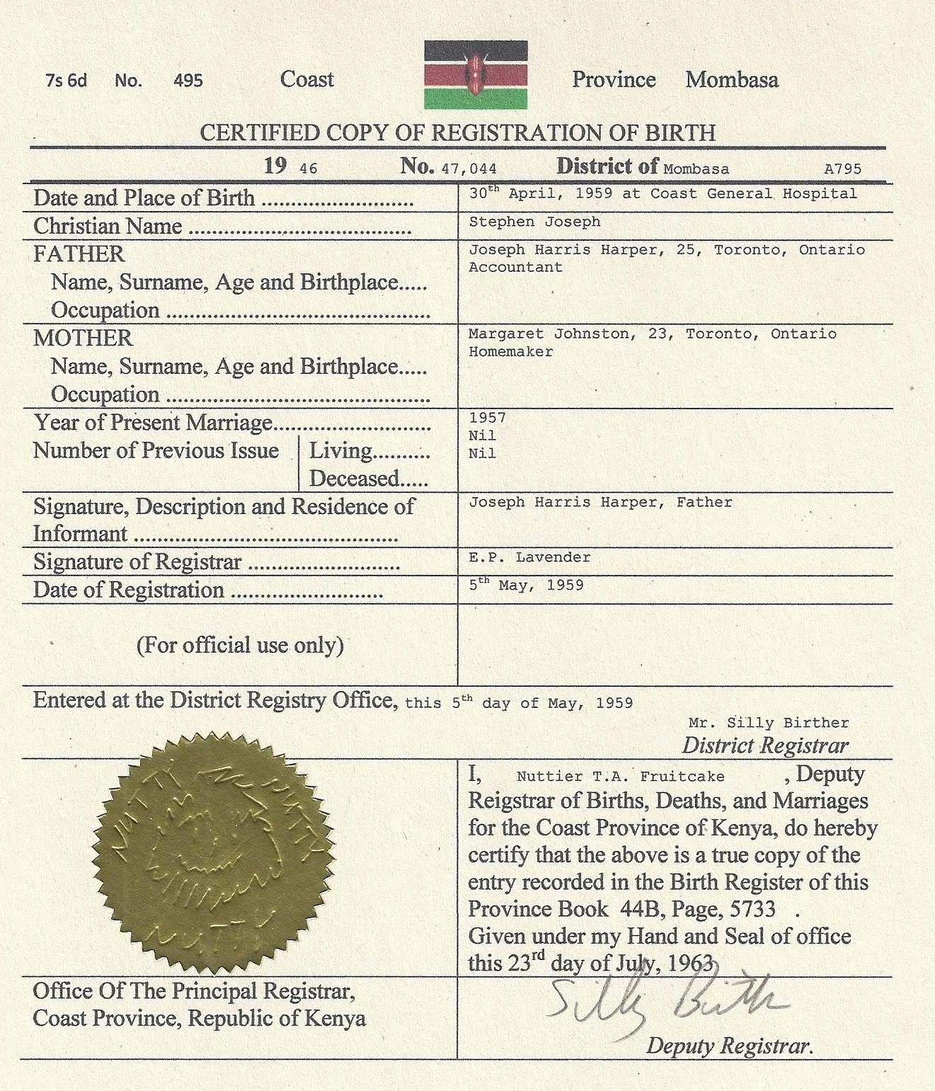 The Elliot Schiller Blog Stephen Harper Kenyan Birth Certificate