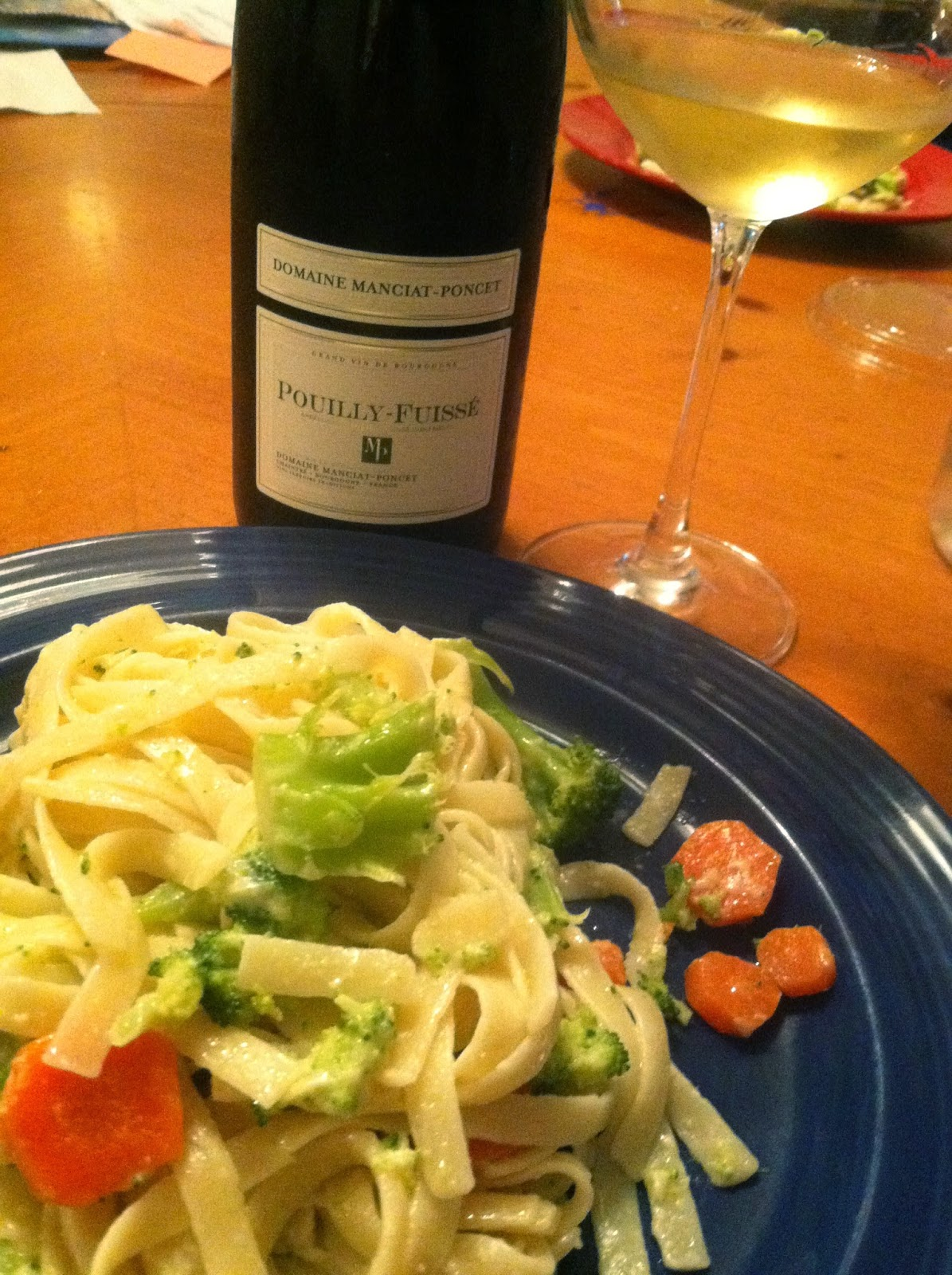 Domaine Manciat-Poncet Pouilly-Fuissé, a nice pairing with creamy fettuccine.