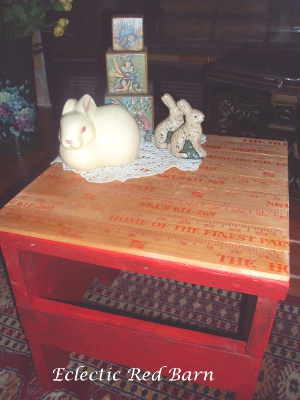 Eclectic Red Barn: Updated Stool with Yardsticks and some Easter Items