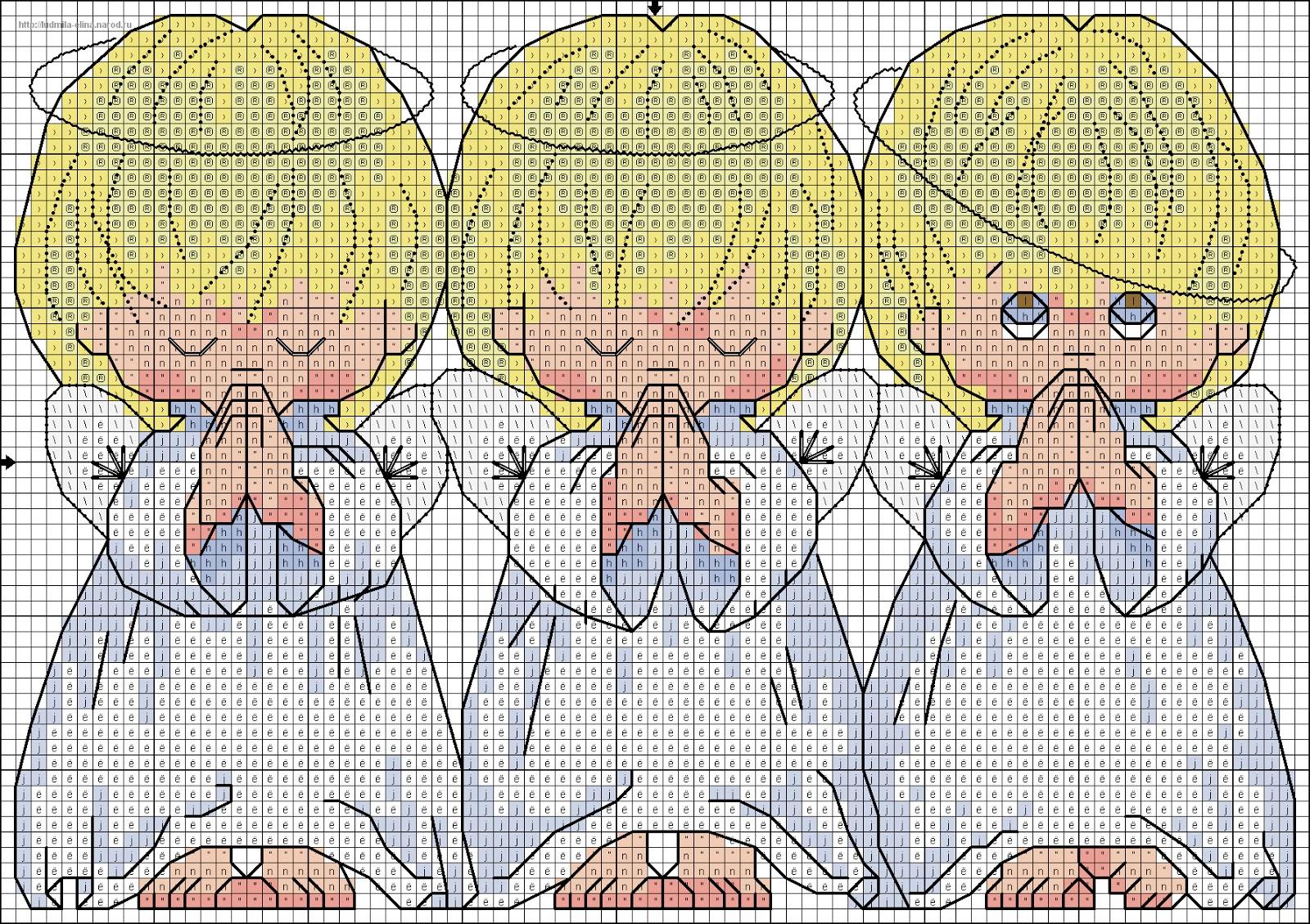 Схема для вышивки с тремя ангелочками 101