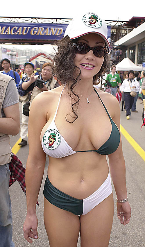 thong bikini swimsuit: Hot racing girls wearing bikini are everywhere