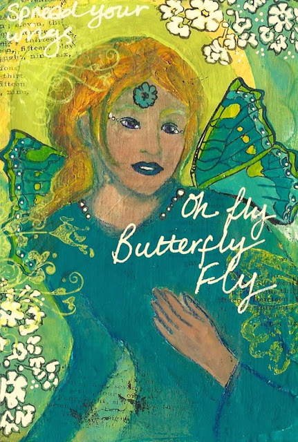 Whoopidooings: Carmen Wing: Paint over collage - Fly Butterfly Fly