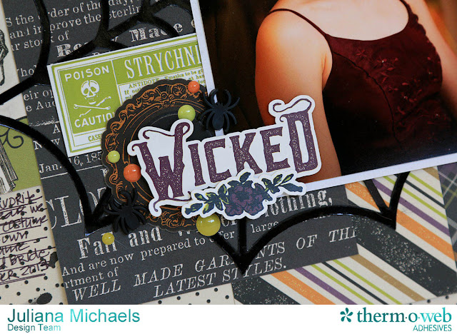 Wicked Halloween Scrapbook Page by Juliana Michaels featuring Echo Park Paper, Tim Holtz, and Therm O Web Deco Foil and Adhesives