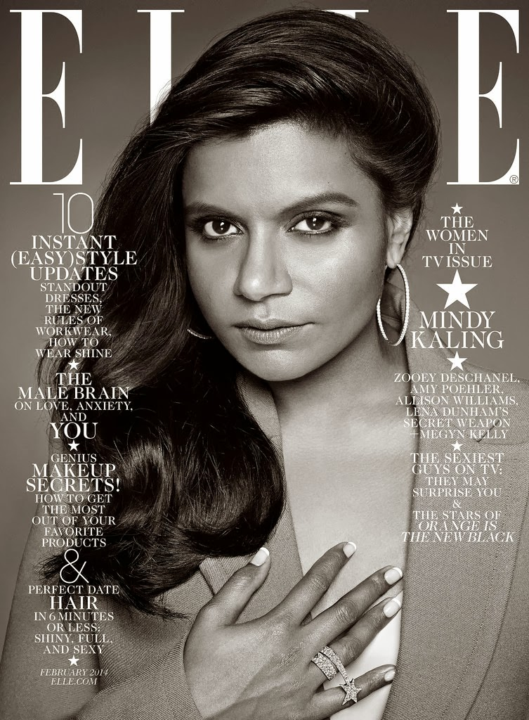 Women in TV Mindy Kaling Elle US Magazine Cover January 2014 HQ Scans