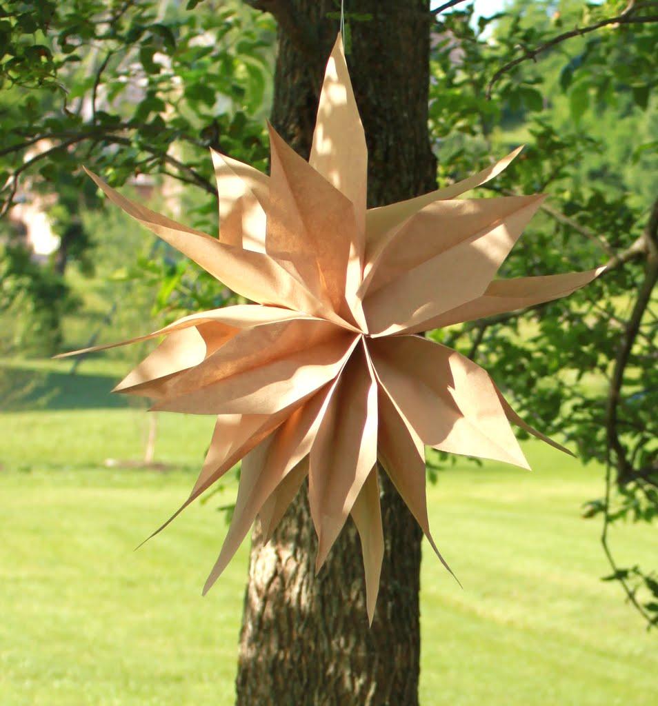 Diy Paper Bag Hanging Stars Or Flowers Tutorial Mirabelle Creations