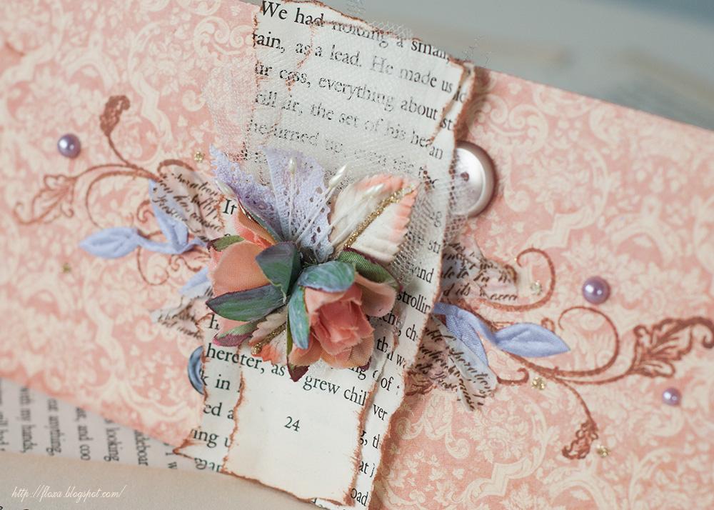 graphic 45 romantic collection, открытка персиковая сиреневая