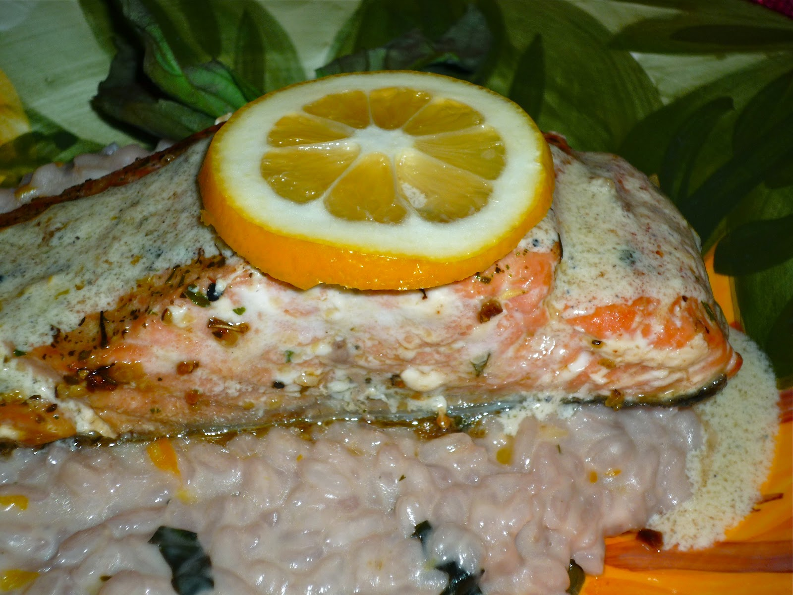 Lemon-Goat Cheese Risotto & Seared Salmon with Meyer Lemon Cream Sauce ...
