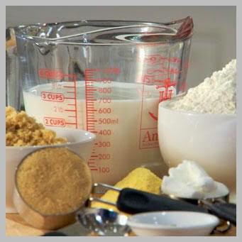 Ingredients measuring kitchen utensils