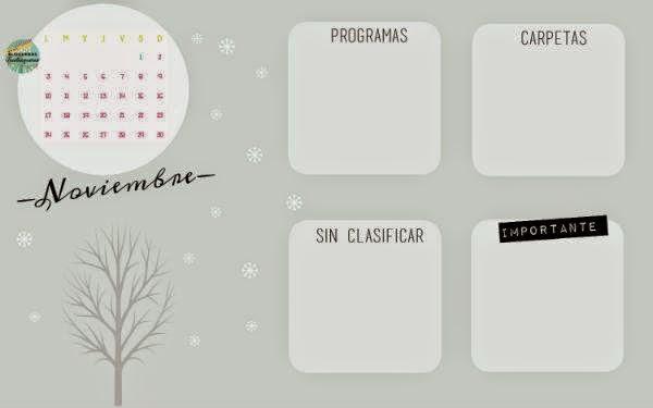 Fondo de escritorio calendario Noviembre seis