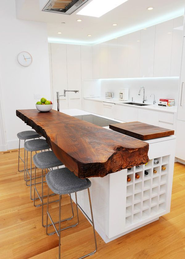 contemporary live edge wood kitchen island