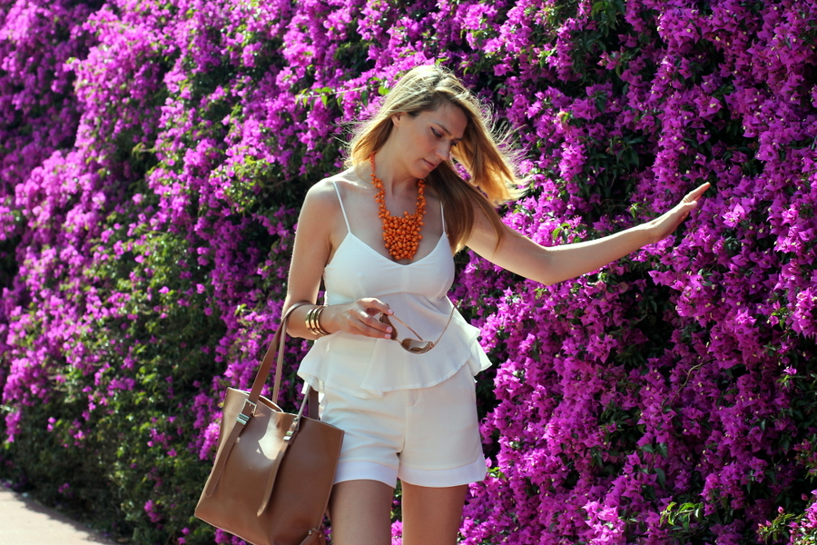 Look shorts y top blanco mujer