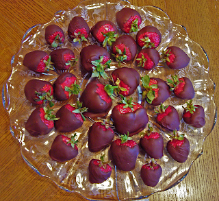 Glass Platter Filled with Chocolate-dipped Strawberries