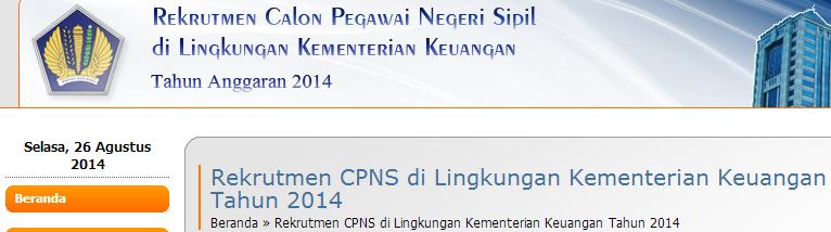 Pendaftaran CPNS Kemenkeu 2014 Panselnas Rekrutmen.kemenkeu.go.id