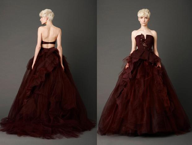 Vestido de noiva vermelho e vinho noiva com classe for Dark red wedding dress