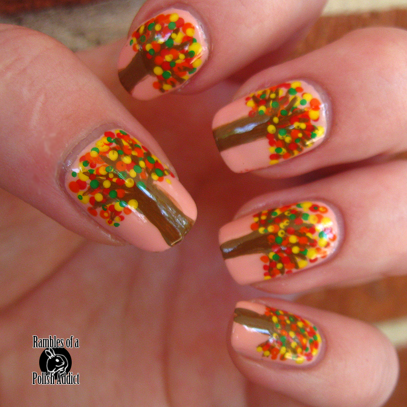 Autumn trees nail art! | Rambles of a Polish Addict
