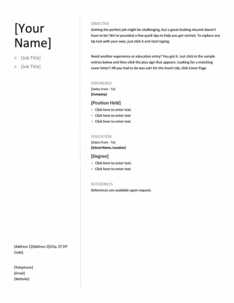 Microsoft Office 365 sample resume templates: Chronological resume ...