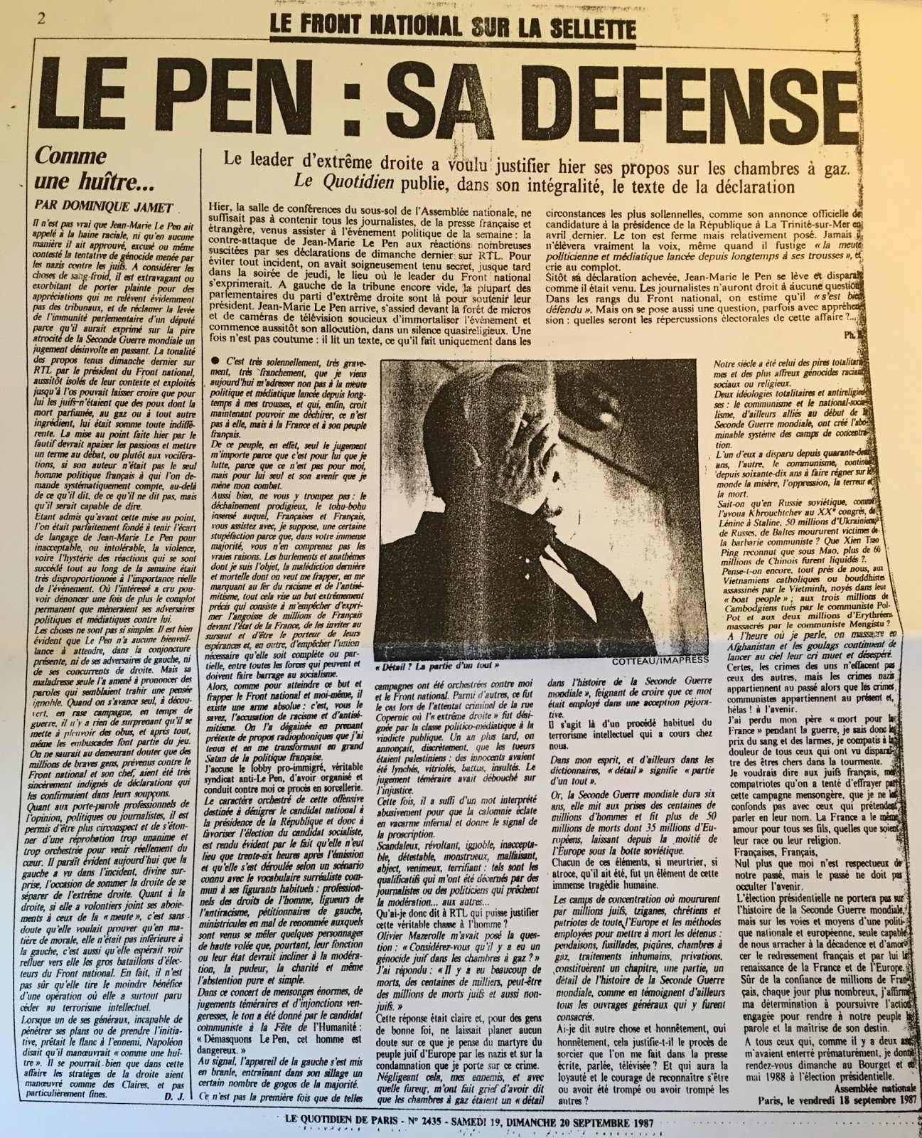 « Déclaration de Jean-Marie Le Pen du 18 septembre 1987 retranscrite dans le Quotidien de Paris ».