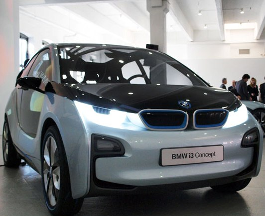 BMW i3 concept front view with headlights on