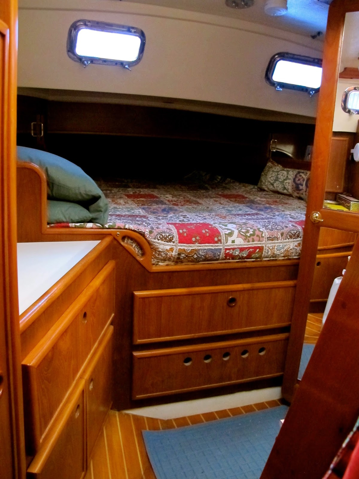 Aft Cabin Again Tons Of Storage King Sized Bed And We Each Have A Built In Night Stand Sorts Not Pictured