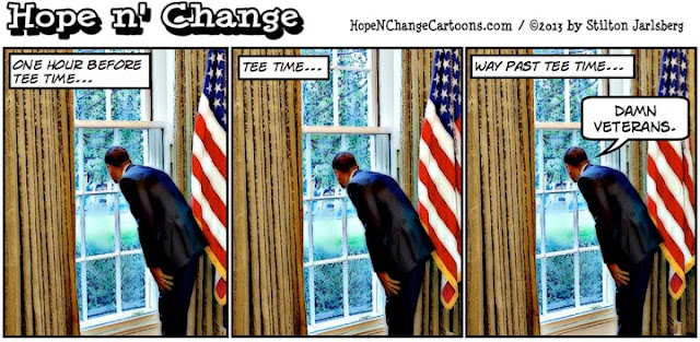 obama, obama jokes, hope n' change, hope and change, stilton jarlsberg, cartoon, million vet march, debt ceiling, golf, shutdown