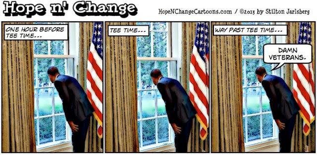 obama, obama jokes, hope n' change, hope and change, stilton jarlsberg, cartoon, million vet march, debt ceiling, golf, shutdown
