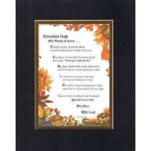Touching and Heartfelt Poem for GrandParents - Grandma's Hugs are Made of Love Poem on 11 x 14 inches Double Beveled Matting