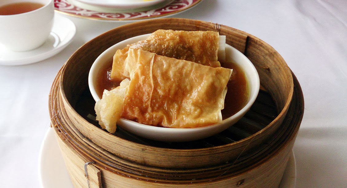 steamed chicken rolls filled with fish maw and mushroom