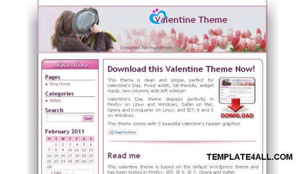 Wordpress Pink Valentines Theme Template