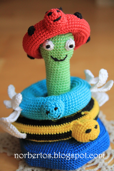 Crochet stacking toy Frog