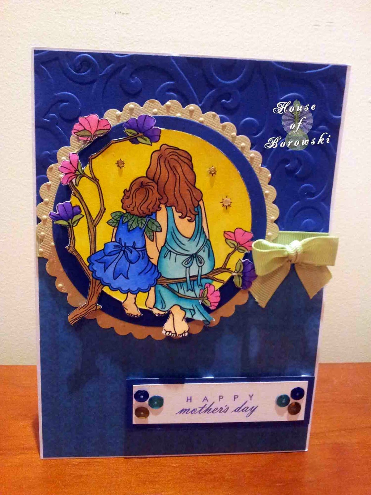 HOB Elizabeth O Dulemba Coloring Page Mother and Child,Papertrey Ink Fillable Frames #4 Mini Stamp Set for Sentiment, Copics, Spellbinders Scalloped Circle, Spellbinders Standard Circle, Kaisercraft Grosgrain Green Ribbon,Cuttlebug Swiss Dots,Sizzix with Hero Arts stamp and emboss flourish folder set