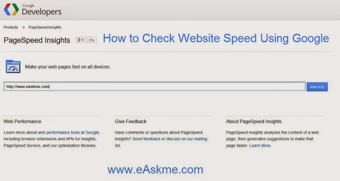 How to Check Website Speed Using Google : eAskme