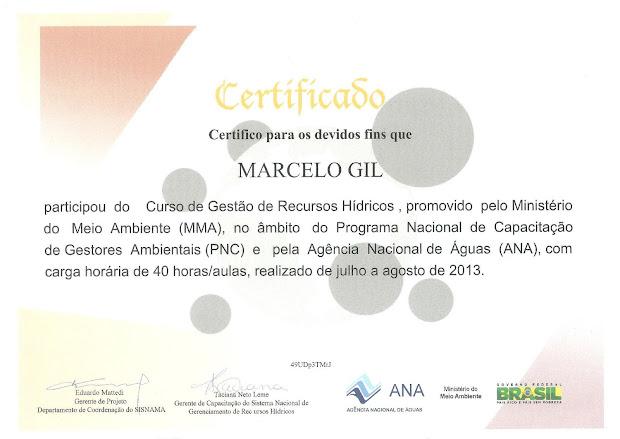 CERTIFICADO CONCEDIDO PELO MINISTÉRIO DO MEIO AMBIENTE À MARCELO GIL - 2013