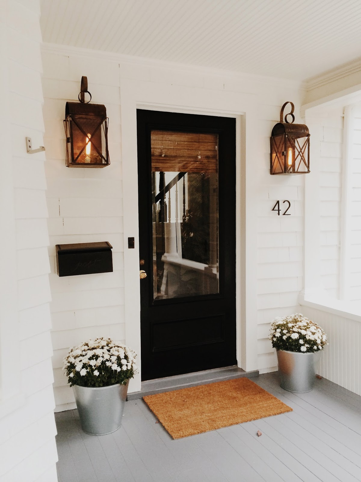 Classic casual home modern cottage style in connecticut for Exterior front door lights