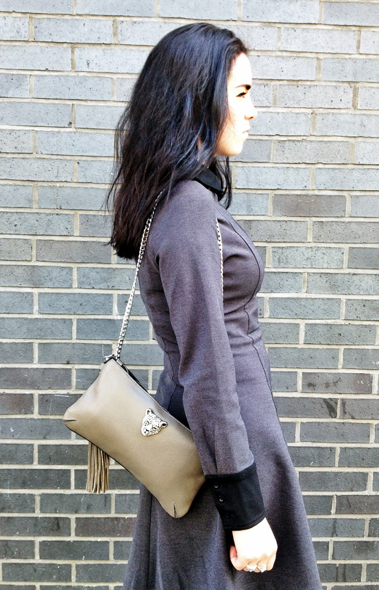 Grey leather Rusi Designs handbag on London fashion blogger Emma Louise Layla