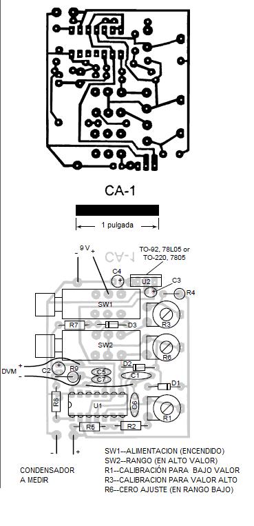 plantilla del impreso para el circuito de medir condensador con multímetro digital