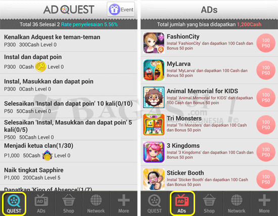Cara Dapat Uang dari Hp dengan Ad Quest