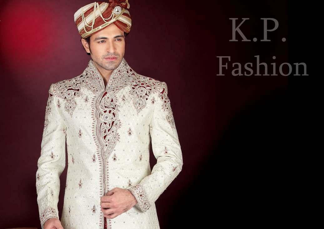 Wedding wear ethnic sherwani for men in india by k p for Indian wedding dresses for men