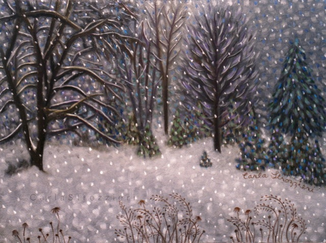 Quiet Storm is an oil painting by artist Carla Strozzieri depicting a stand of trees in a snowy winter landscape.