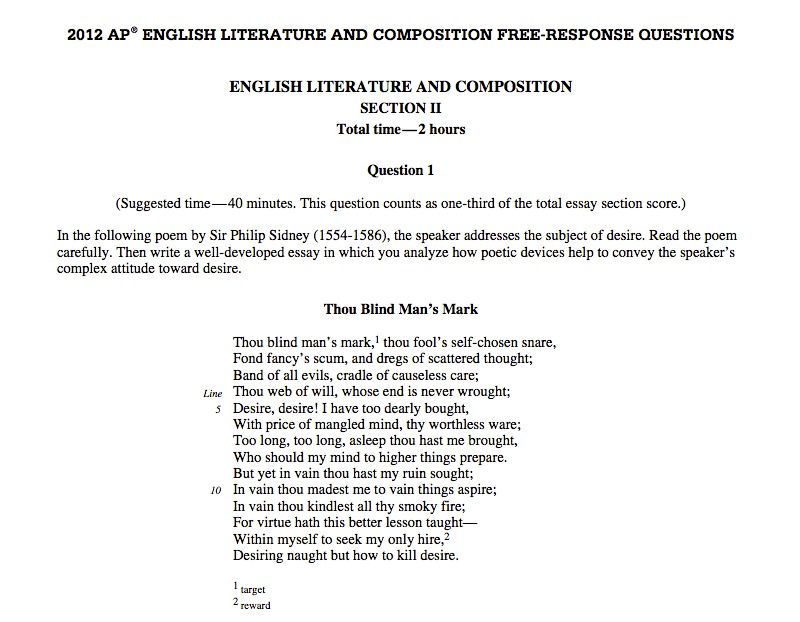 ap literature essay questions 1984 Advanced placement english literature and composition (or ap english literature and composition, ap lit and comp, senior ap english, ap lit, or ap english iv) is.