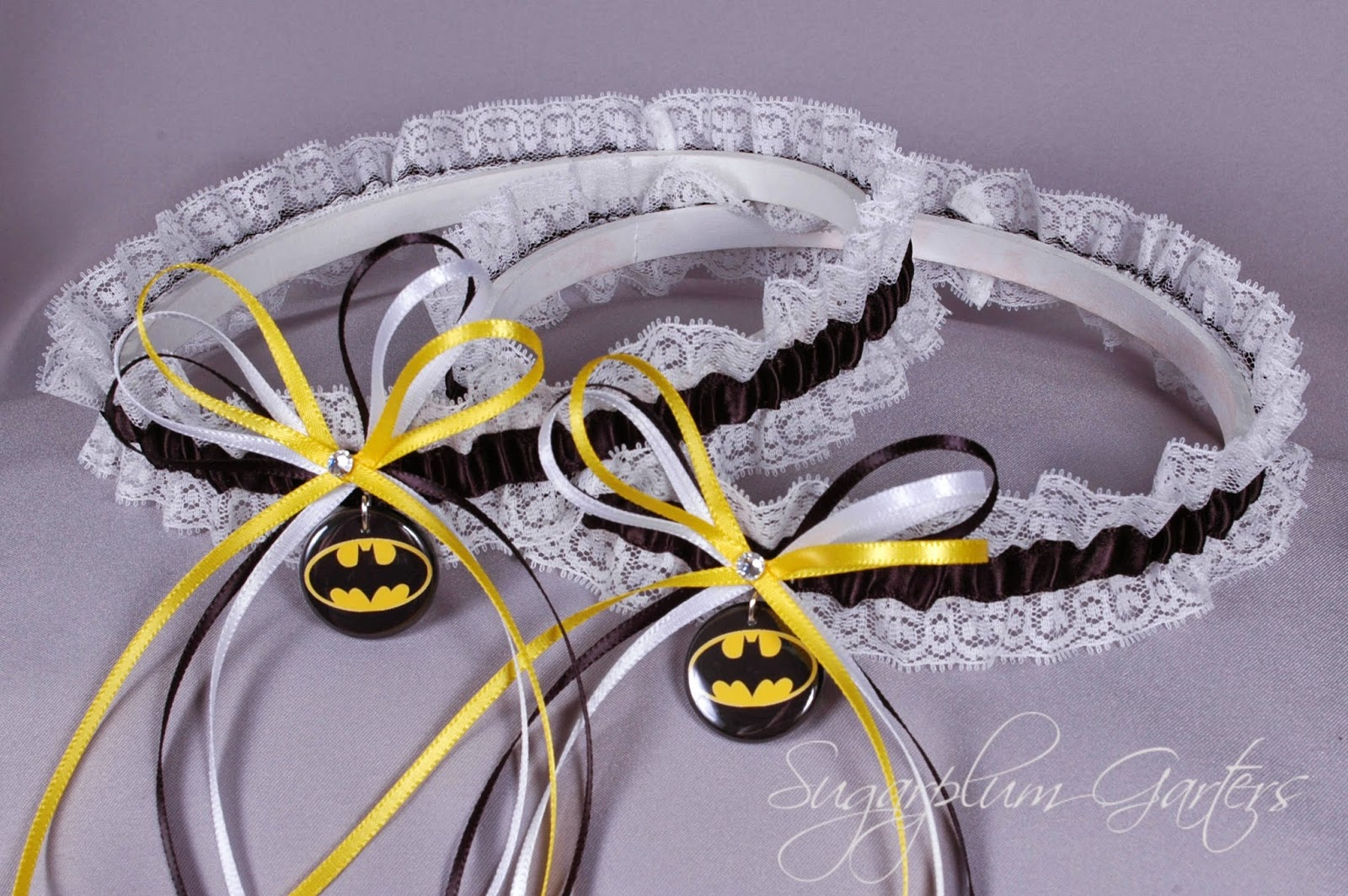 Batman Lace Wedding Garter Set by Sugarplum Garters
