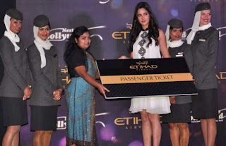 Katrina Kaif in White Short Skirt, Katrina in Etihad Ariways Promo