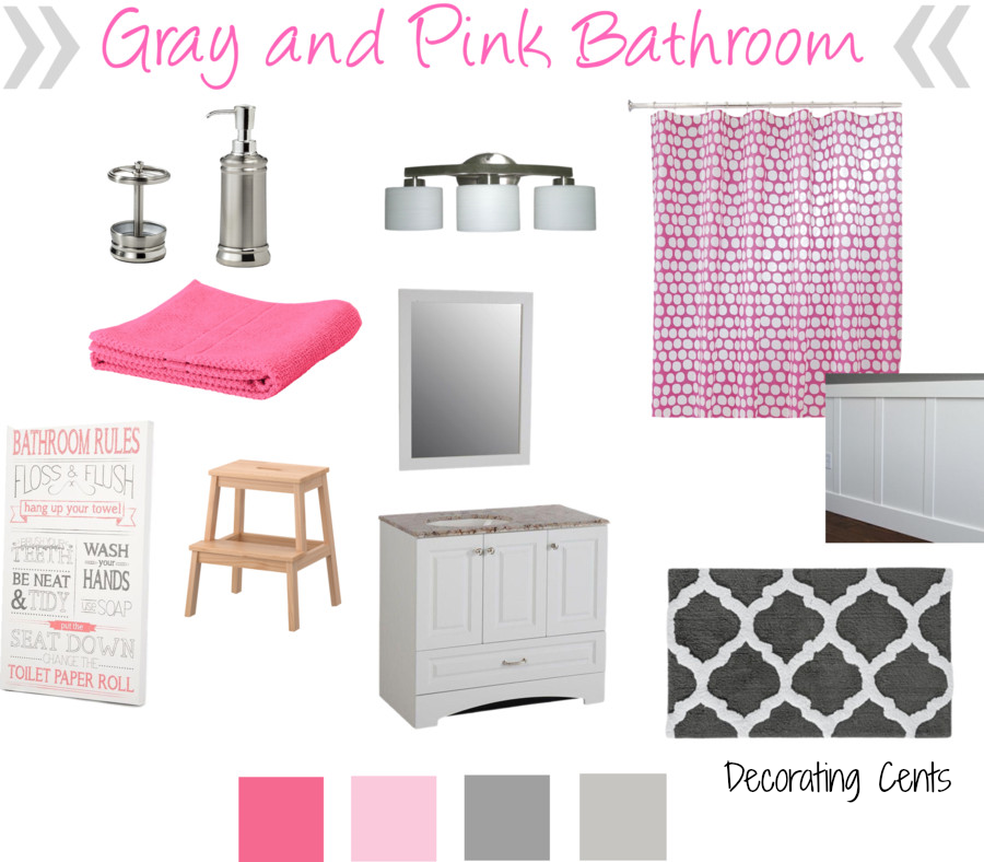 Decorating cents gray and pink girls bathroom for Pink and grey bathroom decor