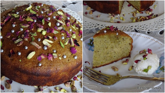 Pistachio & cardamom cake with rose petals