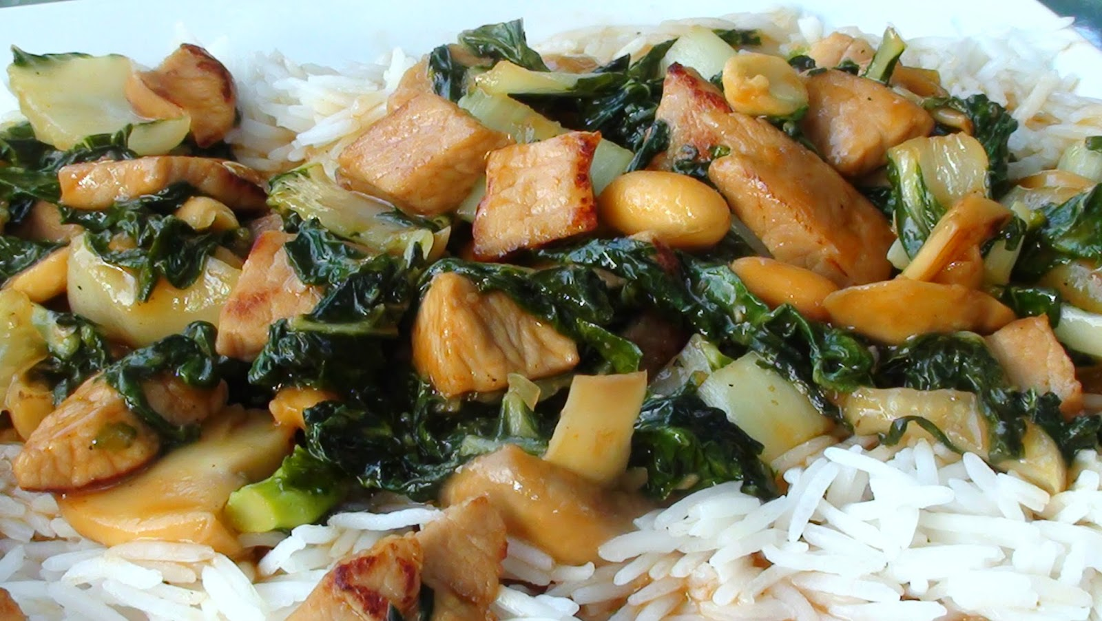 Pork Stir Fry with Baby Bok Choy and Peanuts