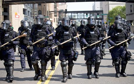 Riot police in Minnesota