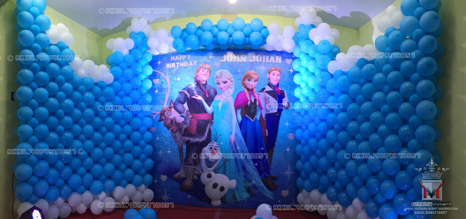 Frozen themed party balloons images for Balloon decoration companies
