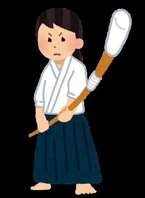 薙刀を構える女性のイラスト