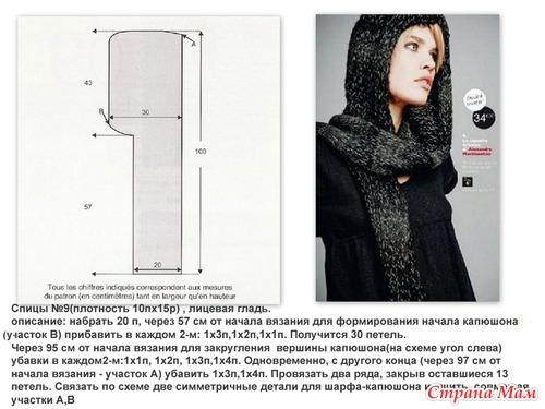 Вязание спицами шарф-капюшон схемы и описание